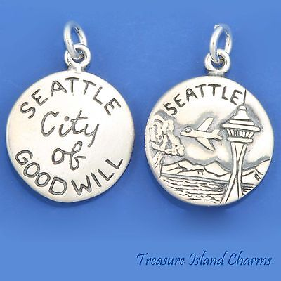 Seattle Washington City Of Goodwill Space Needle 925 Sterling Silver Round Charm