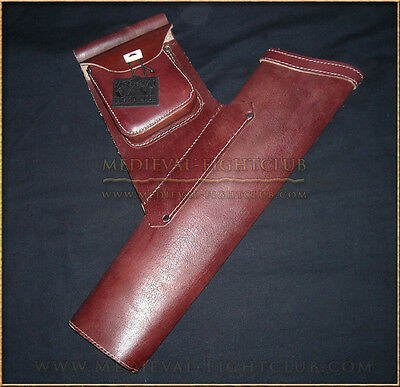 Side Quiver in Hard Leather with Pouch Archery Arrows Reenactment