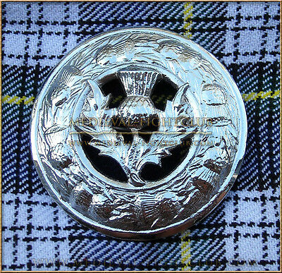 Scottish Thistle Plaid Brooch Kilt Pin Highlands Scotland