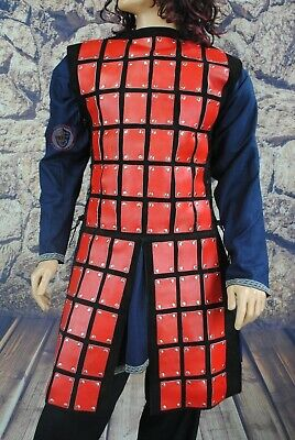 Red & Black Leather Coat of Plates for reenactment, LARP or Cosplay