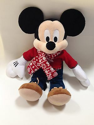 """Mickey Mouse Plush 15"""" Disney Store 2015 Embroidered On Shoe Holiday Christmas"""