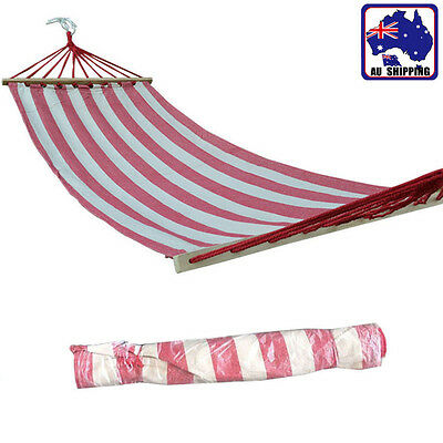 2*0.8m Red With White Stripes Hammock Outdoor Canvas Net Max Load 80kg OHAMM2216