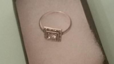 Sterling silver 1/3ct VVS ART DECO antique 1920's sparkling cz ring size 6 AAA