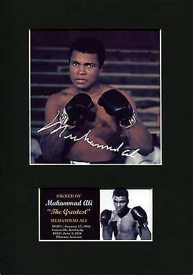 Muhammad Ali Quality signed Mounted Pre-Print 12 x 8in A4 brand new