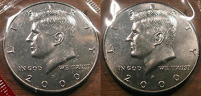 2000 P D Kennedy Half Dollar Coin Set 2 Brilliant Uncirculated Mint Set Coin's