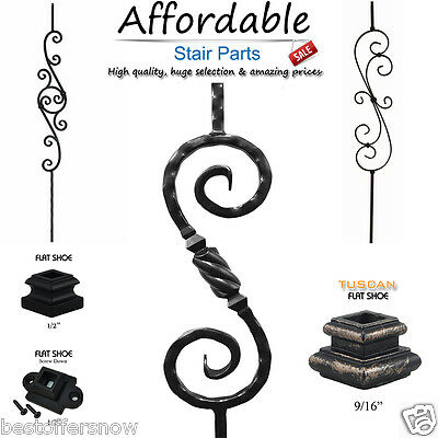 Scroll Iron Balusters Metal Stair Parts Satin Black-Oil Rubbed Bronze & more