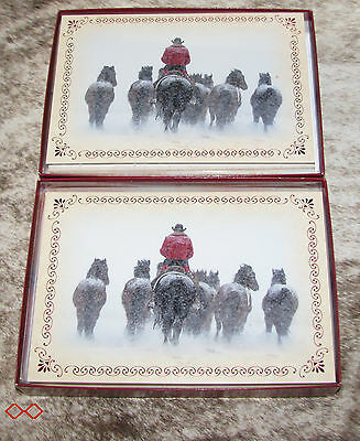 LEANIN TREE Pushing the Horse Herd in Winter Storm~20 total Christmas cards