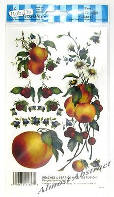Peaches Berries & Daisies E-Z Rub-On Transfers Sheet (Decals) ~ New