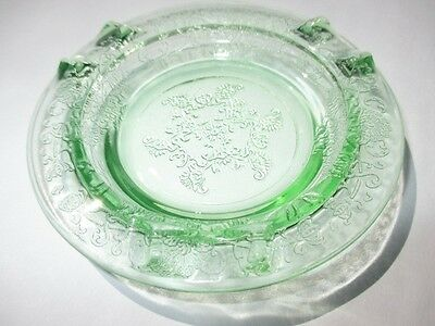 Hazel Atlas Florentine Poppy Green Depression Glass Ashtray Butter Pat Jam Plate
