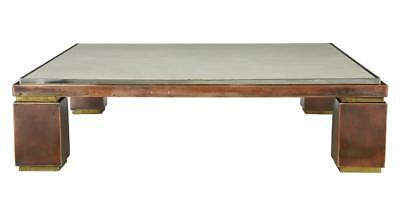 20TH CENTURY 1950's MODERN COPPER STEEL AND MARBLE TOP LARGE COFFEE TABLE