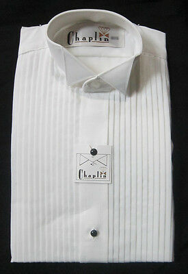 New 100% Cotton Large Mens Wing Collar White Tuxedo Shirt Butterfly Tip Wedding