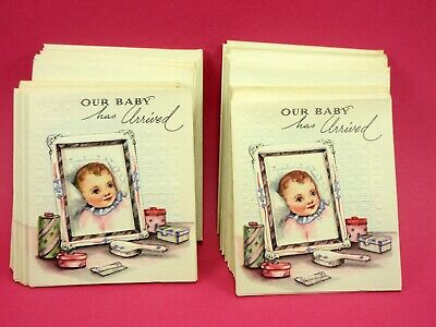 "12 Birth Announcement ""our Baby Has Arrived 3 X 3 1/12 Rare Vintage Diamond Line"