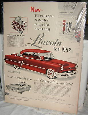 """1952 Lincoln Ad, 13"""" high by 9.5"""" wide, originial and great condition"""
