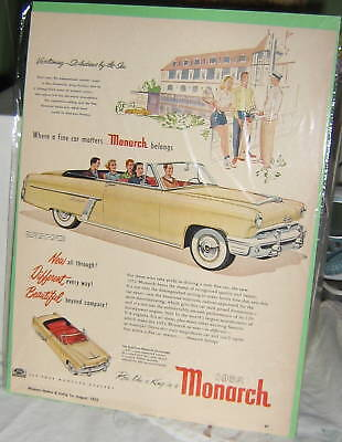 """1952 Monarch Convertible Ad, 13"""" high by 9.5"""" wide, original and great condition"""
