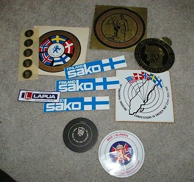 9 diff  Vintage Norway Finland Sweden Shooting Competition Federation Stickers