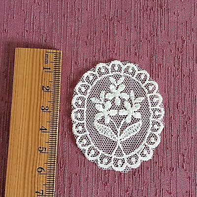 Lace Applique Motif Trim White Vintage Style Rose Oval  Heirloom Sewing x 2