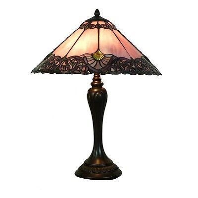 Pink Melba Large Tiffany Style Table Lamp Lead Light - Will Ship Australia Wide