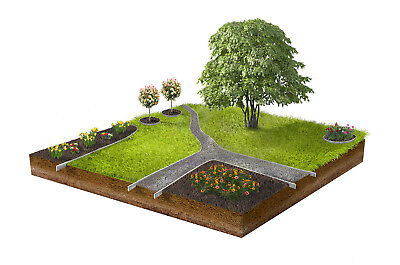 30x Grass Lawn Edging Border Metal Aluminium 18 cm high with Click-Fix-System