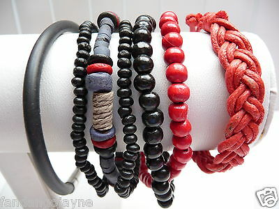 Men's / Boys 6 Wristband set  -  Red & Black- Costume Jewellery Sets