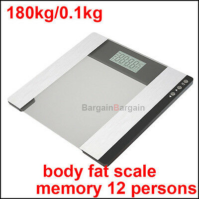 Personal digital electronic bathroom gym body fat water weight scales 180kg wht