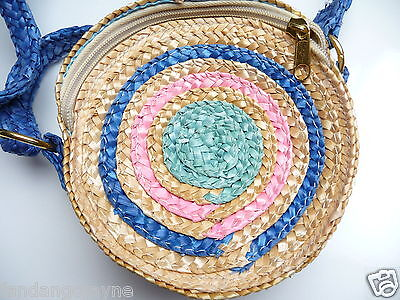 Girls round straw handbag