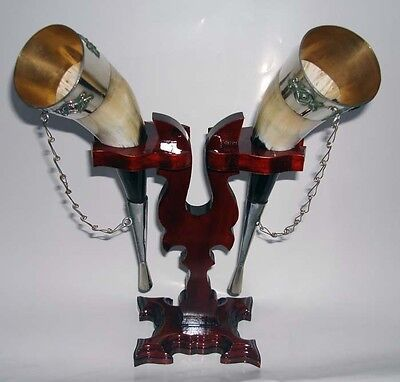 Georgian Drinking Horns for Wine & Stand Excellent Gift for Wedding Birthday,New