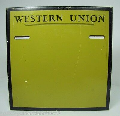 Old Western Union Sign telegram telegraph switchboard office advertising tin mtl