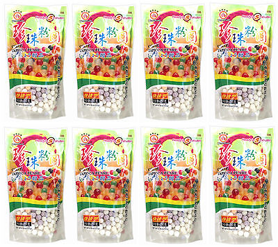 8 Packs of Wufuyuan Colour Tapioca Pearl 250g for Bubble Tea Drink Boba Milk tea