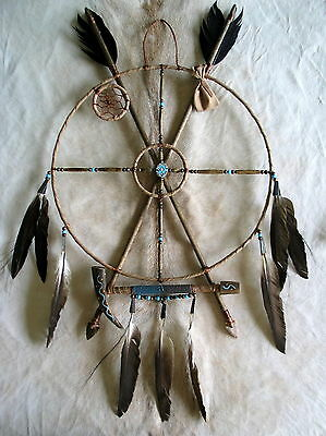 New Native American Navajo Hand-Crafted Mandala Medicine Wheel Dreamcatcher  5