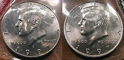 1997 P D Kennedy Half Dollar Coin Set 2 Brilliant Uncirculated Mint Set Coins
