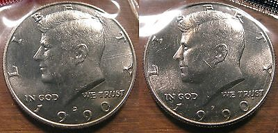 1990 P D Kennedy Half Dollar Coin Set 2 Brilliant Uncirculated Mint Set Coins