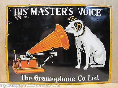Antique 1930s Porcelain His Master's Voice Nipper Dog Gramophone Co Adv Sign