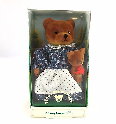Vtg Applause 1986 Momma & Baby Bear Story Figures Flocked Teddy Bear Figures NIB