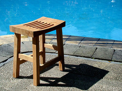 Grade-A Teak Wood Curved Seat Shower Bath Spa Stool Bench Outdoor Garden Patio