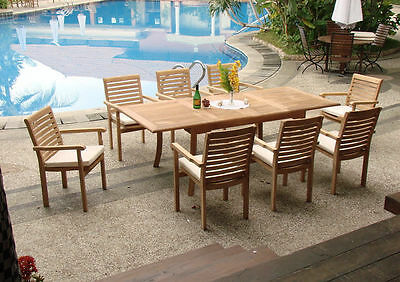 "Hari Grade-A Teak 7pc Dining 94""Rectangle Table 6 Stacking Arm Chair Outdoor Set"