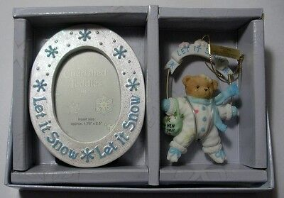 """Cherished Teddies """"let It Snow  Picture Frame & Hanging Ornament"""" 118388 Mib"""