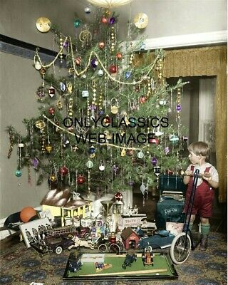 1922 Vintage Christmas Tree All Decorated Colorized Photo Antique Toys Scooter