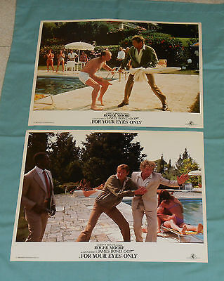 original FOR YOUR EYES ONLY LOBBY CARD LOT x2 James Bond 007 Roger Moore