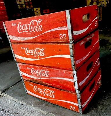 4 Vintage 32oz Coke Coca Cola Wood Soda Pop Crates Great Condition 12 Dividers