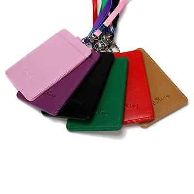 PU Leather Id Holders Case Business Badge Card Holder with Necklace Lanyard Cute