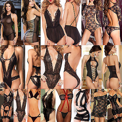 NT Women Lingerie Babydoll Sleepwear Underwear Lace Black Dress set 31 Styles