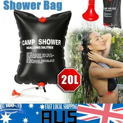 20L Camp Shower Bag Solar Heated Water Pipe Portable Camping Hiking Travel TT