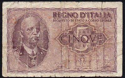 1944 ITALY 5 LIRE BANKNOTE * 1035960 * aF * P-28 *