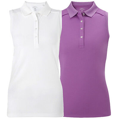 Callaway Golf Womens Opti-Dri Solid Double Knit Sleeveless Polo Shirt