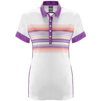 71% OFF RRP Callaway Golf Womens Buzz Stripe Polo Shirt CGKS5041 Performance