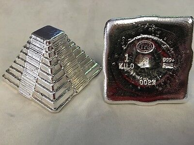 """1 KILO YPS 3D 999 Fine Silver """"Aztec Pyramid"""" Yeager's Poured Silver Hand Poured"""