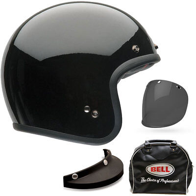 Bell Custom 500 Deluxe Solid Gloss Black Open Face Motorcycle Helmet | All Size