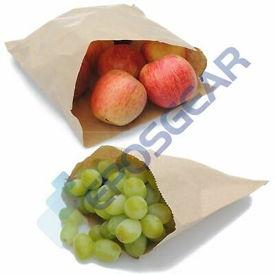 "100 10"" x 10"" Brown Kraft Strung Sweet Food Fruit Veg Market Stall Paper Bags"
