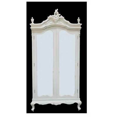 French Antique Style White Armoire / White Wardrobe / Shabby Chic