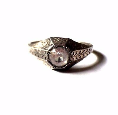 Antique Art Deco Sterling Silver Clear Paste Engagement Ring W/ EtchingSize 12.5